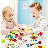 Lewo 230 Pezzi Blocchi di Legno Puzzle di Legno Classico educativo Giocattoli Montessori Set di Tangram per Bambini #6