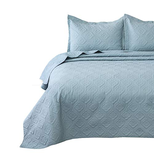Bedsure Quilt Set Light Blue Queen/Full Size (90x96 inches) - Flower Petal Design - Soft Microfiber Lightweight Coverlet Bedspread for All Season - 3 Pieces (Includes 1 Quilt, 2 Shams)