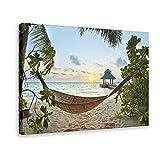 Hamaca de viaje tropical de playa con palmeras, póster de lona para decoración de pared, para sala de estar, dormitorio, marco de decoración de 40 x 60 cm