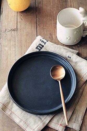 YUWANW Céramique noire mate japonaise, plats occidentaux, plats plats, plats à petit-déjeuner, salade, pâtes à sushis.