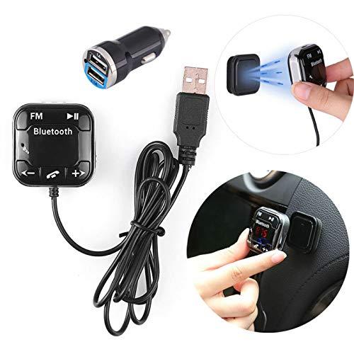 Riloer Transmisor FM Bluetooth, Adaptador de Audio Bluetooth para Automóvil con Dos Puertos USB de Carga Rápida, Llamadas Manos Libres, Reproductor de Música MP3