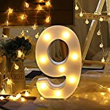 LED Zahlen Lampe Nummer Beleuchtete Ziffern 0 1 2 3 4 5 6 7 8 9,Warm Weiße Lichter Dekoration Lichter Festzelt Licht, Led dekoration für Geburtstag Party Hochzeit & Urlaub Haus Bar (9)