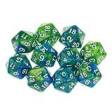 D DOLITY 10pcs Dados de 20 Caras D20 Polyhedral Dice para Dungeons and Dragons Juego de Mesa Accesorios - Verde púrpura