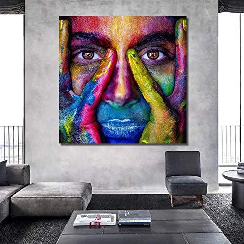No frame ART kleurrijke vrouw gezicht moderne canvas schilderij voor woonkamer posters en prints Wall Art Home decoraties 60x60cm