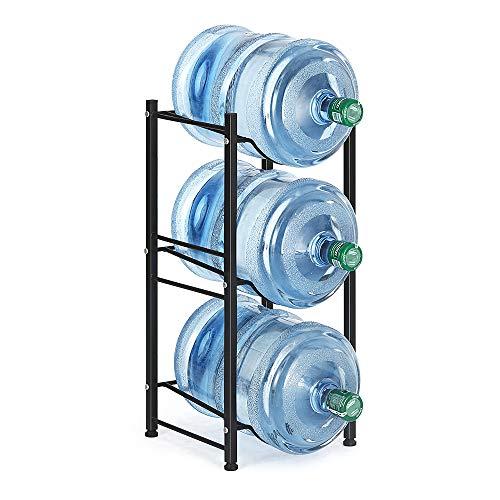 Water Jug Holder Rack Detachable Stainless Steel, 3-Tier Water Storage Chrome Shelves Organizer for 5 Gallon Water Bottle Dispenser Stand Heavy Duty Stackable for Office Kitchen Lobby Foyer, Black