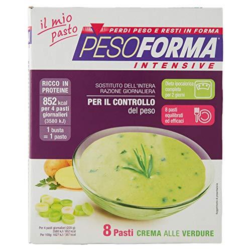 Pesoforma Intensive Crema alle Verdure - Pasto sostitutivo dimagrante salato - Confezione da 8 pasti green - 213 Kcal