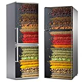 MEGADECOR Vinilo Adhesivo Decorativo para Nevera con Diseño Colorido de Especias Orientales, Varias Medidas (185cm x 70cm)