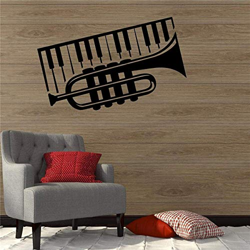 IOIUG Wandaufkleber Trompete Klavier Musikinstrument Musik Dekor Wandtattoo Vinyl Aufkleber Modernes Design Wanddekoration Wandaufkleber 58 X 36 cm