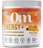 Om Mushroom Superfood Powder, Energy Plus, Citrus Orange, 7.05 Ounce (32 Servings), Cordyceps, Yerba Mate, & Vitamin C, Immune Support Supplement
