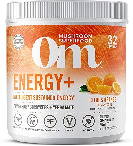 Om Mushroom Superfood Energy Plus Mushroom Powder Drink Mix, Citrus Orange, 7.05 Ounce, 32 Servings, Mushroom Blend, Cordyceps, Yerba Mate, Tumeric, Vitamin B Complex, Pre-Workout, Immune Supplement