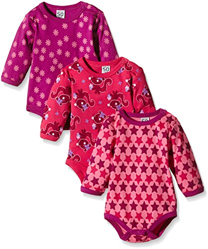 Amazon Exclusive: Care Baby - Mädchen Langarm-Body im 3er Pack, Rosa (Pink 569), 0-3 Monate/56 cm