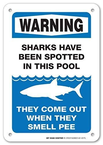 GFGKKGJFD Warnschild Warning Sharks Have Been Spotted In This Pool - Pool Rules for Pool Owners – 20,3 x 30,5 cm Metallschild Aluminium Schilder