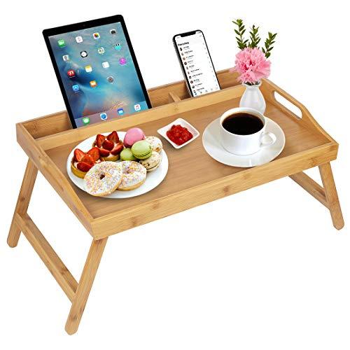 Vassoio da letto con manici, gambe pieghevoli, vassoio da colazione in bambù con supporto per tablet, tavolo da colazione, scrivania per computer portatile, vassoio da cucina