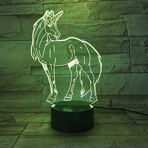 animal caballo bestia ilusión fotográfica 3D luz nocturna lámpara de mesa LED luz táctil de 7 colores decoración de la oficina del dormitorio del hogar para niños D regalo de cumpleaños