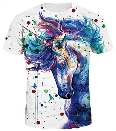 Ocean Plus Hombre Divertido Impresión Digital 3D Modelo Camiseta Cuello Redondo Manga Corta T-Shirt Unisex Tops (3XL/180-185, Jeringa Unicornio)