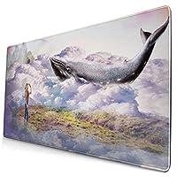 マウスパッド 大型 ゲーミング デスクマット クジラ 少女 冒険 雲 山 かわいい 防水性 耐久性 滑り止め 多機能 超大判 40cm×75cm