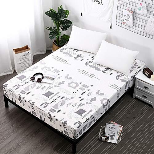 WLYY Nuevo diseño Funda de colchón Impermeable Impreso Cómoda Cama Sábana Ajustable Mojado Protector de colchón Transpirable 80X200X30cm Color 8