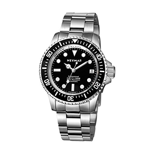 NEYMAR 40mm Automatic Watch 1000m Dive Watch Swiss 2824 Automatic Movement 500m Watch (Steel Black Surface)
