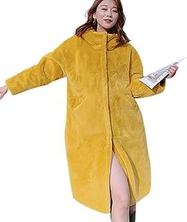 Weixinbuy Women Winter Warm Soft Thick Fleece Fluffy Faux Fur Hooded Jacket Long Coat Cardigan
