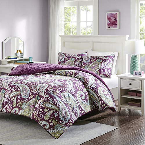Intelligent Design, Boho Design, Plush Diamond Reverse Ultra Soft Quilted Faux Fur Comforters Set, Full/Queen, Purple