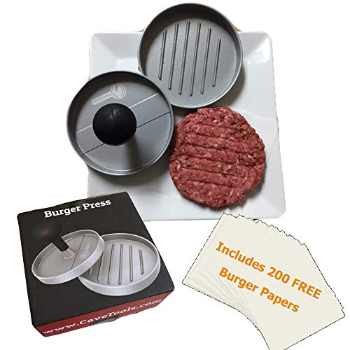Cave Tools Burger Press  Perfectly Formed Hamburger Maker  Includes 200 Non Stick Patty Papers for Making Quarter Lb or Large 1/3 Pound Stuffed Pocket Burgers  Best Aluminum Presser BBQ Gift Idea