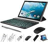 Tablette Tactile 10 Pouces Pas Cher 4G Android 9.0 Quad Core 4Go RAM 64Go ROM Tablette avec Clavier DUODUOGO P6 Batterie 8000mAh Netflix Double Caméras Doule SIM/WiFi/BT/OTG (P6-Noir)