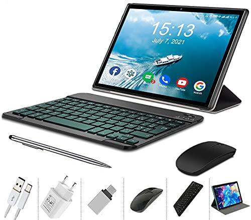 4G Tablet 10 Pollici con WIFI Offerte Android 10.0 Quad Core 4GB RAM 64GB ROM/Fino a 128GB 8000mAh WIFI Tablet 8Pcs DUODUOGO P6 Fotocamera 8MP 1920*1200 Dual SIM Bluetooth GPS OTG (P6 - Nero)