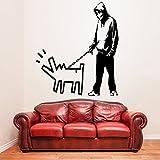 (162 x 180 cm) Banksy de la pared del vinilo adhesivo de niño con perro/hombres caminando con pintado Graffiti Street Art perro decoración Mural extraíble + regalo gratis al azar TecGadgets!