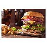 Wooden Puzzle 1000 Pieces Bacon Cheese Burger with Beef Patty Tomato Onion Junk Food Stock Jigsaw Puzzles for Children or Adults Educational Toys Decompression Game