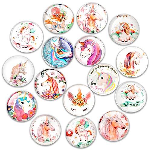 Cosylove Kühlschrankmagnete mit süßer Katze, Kristall-Glas, für Büro-Schränke, Whiteboards, Fotos, schöne dekorative Magnete für Zuhause (Einhorn)