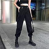 haochenli188 Pantalon De SurvêTement Surdimensionné Baggy Cargo Pants Women Black Joggers Hip Hop Ribbons High Waist Pants Xxxl Black