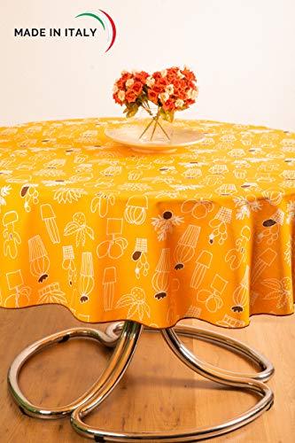 Esse Home - Confestyl Line Ronde Tafelkleed 180-8 cm Personen - Gedrukt op Puur Katoen Panama-Stof - Gemaakt in Italië (Pinkt, Oranje, Grijs)
