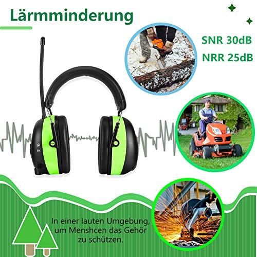 PROHEAR 033 Gehörschutz mit Bluetooth, FM/AM Radio Ohrenschützer, Eingebautem Mikrofon und Lärmreduzierung für Forst-, oder Landarbeit & lärmintensive Freizeitaktivitäten SNR30dB - 7