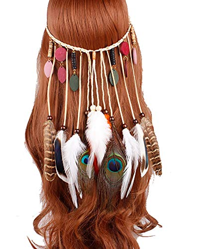casue, dames, pauwe, hippie hoofdband, veer, Indiase design, haaraccessoires, bohemian, hippie accessoires, Style #4