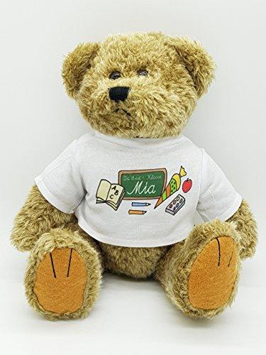 Kinderlampenland personalisierter Bär Tafel Kuscheltier für die Zuckertüte Schultüte mit Wunschname zur Einschulung Glücksbringer