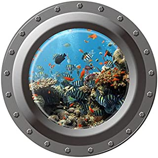 DNVEN 17 inches x 17 inches Porthole Peel and Stick Window View Under The Sea Tropical Fishes 3D Window View Wall Arts Decals Decors Removable Stickers Undersea World