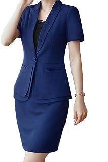 Tootess 女性半袖1ボタン基本スタイル固体スカートジャケット2パソコンスーツ