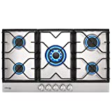 GASLAND Chef 34'' Built-in Gas Cooktops, 5 Burner Drop-in Propane/Natural Gas Cooker, 34 Inch Stainless Steel Glass Gas Stove Top