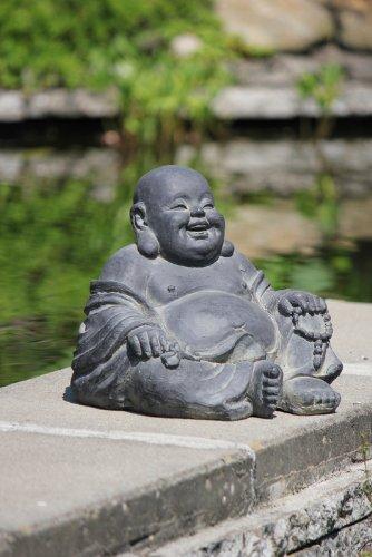 Figur Lachender Buddha sitzend – für Haus und Garten – Höhe 24 cm – schwarz - 2