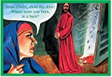 Born In A Barn - 12 Funny Religious Christmas Cards with Envelopes (4.63 x 6.75 Inch) - Hilarious Mary and Jesus, Boxed Happy Holidays Notecard Set - Xmas Stationery for Naughty Adults B1382