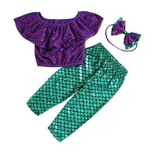 Chennie 3 stks Zeemeermin Outfits Outfit Set Ruche Top+Broek+Hoofdband Pak voor Baby Meisje 1-5T