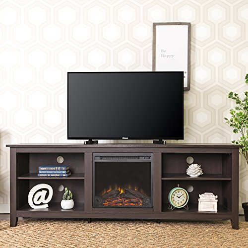 New 70 Inch Wide Fireplace Television Stand in Espresso Brown Finish