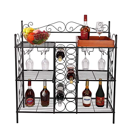 KIKIONLIFE Black Metal Six (6) Shelf Kitchen Bakers Rack Console Table with 12 Bottles Wine Storage and 12 Glass Holder