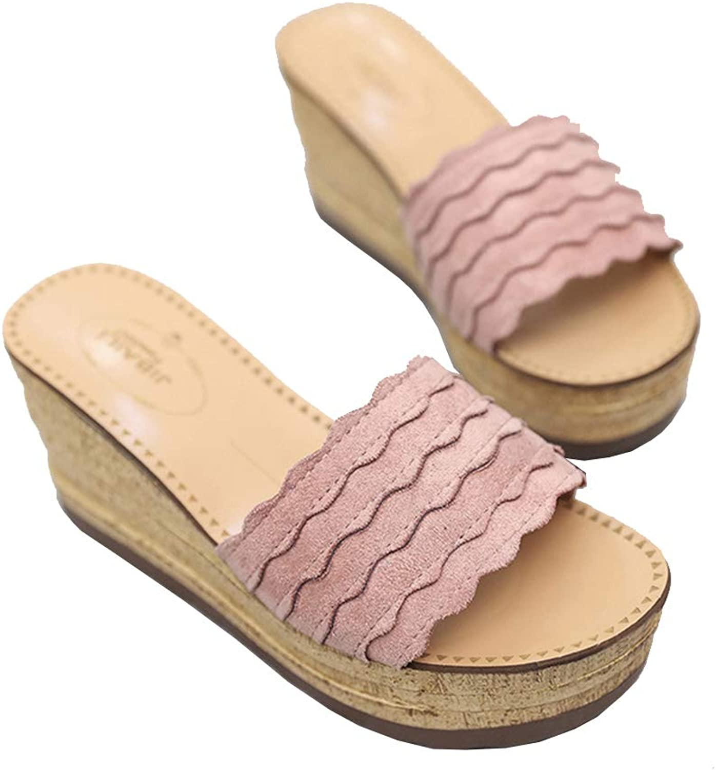 Sandals Women Ladies Summer Thick-Soled Platform Wedge Heels Casual Round Toe Beach Retro Fashion Ankle shoes Slipper