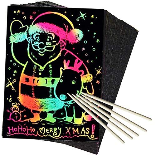 AxPower 50 Piece Rainbow Scratch Paper Art Set Magic Black Scratch Paper for Kids Scratch it Off Art...