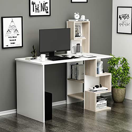 DERONI Scrivania - Scrivania per computer - Scrivania ufficio - Porta PC - Tavolo per Computer con Scaffale Ripiano (Bianco / Avola) (Bianco / Avola)