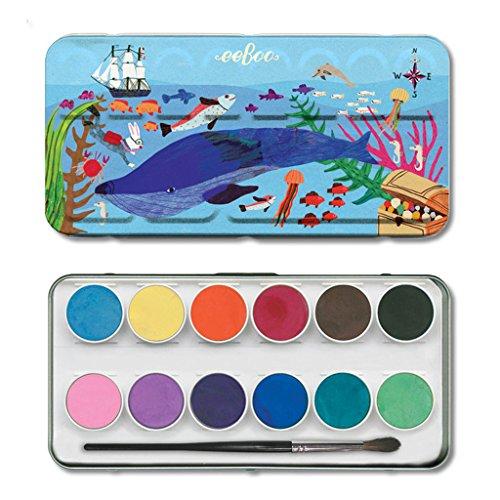 eeBoo in The Sea 12 Watercolours in Tin Box