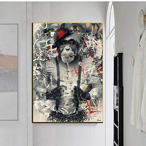 JHGJHK Arte Moderno de la Pared decoración Animal Graffiti Arte Mono Pintura al óleo Arte de la Pared Cartel Sala de Estar Dormitorio decoración Pintura