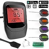 Gifort Digitales Fleischthermometer, Grillthermometer BBQ Thermometermit 4 Sonden, Funk Thermometer Bratenthermometer für Küche