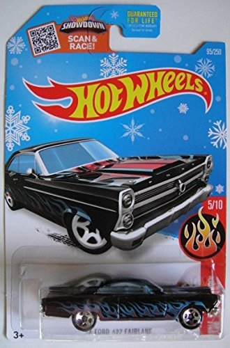 HOT WHEELS HW FLAMES BLACK WITH BLUE FLAMES '66 FORD 427 FAIRLANE 95/250 SHOWDOWN SCAN & RACE! SNOWFLAKE CARD! by Hot Wheels
